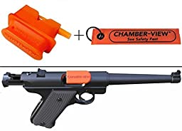 Ultimate Arms Gear Chamber-View .22 Cal semi-Auto Rifle Pistol Handgun Hand Gun Empty Chamber Safety Flag Load Indicator Device Polymer Orange Dummy Ammunition Ammo Shell Round + Fast Pull-Tag Attaches to Device & Provides Additional Visual Identification