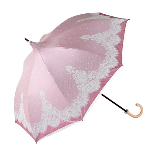 晴雨兼用長傘 パゴタ カラーコーティング レース調プリント 折傘 ピンク