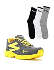 Elligator Gray & Yellow Stylish Sport Shoes With Puma Socks For Men's