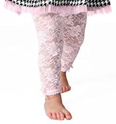 Baby Emporio - Baby Girl Lace Leggings-Pink-12-18 M