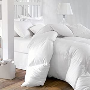 QUEEN Size 1200 Thread-Count Siberian GOOSE DOWN Comforter, 100% Egyptian Cotton, White Stripe, 750FP & 50Oz