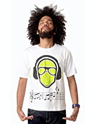 Attabouy Dj Monk Mens Cotton T-shirt-White
