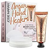 Josie Maran Argan Hand Healers Bear Naked Natural Grapefruit Scent Nail Wipes 20 Ct and Whipped Argan Oil Intensive Hand Cream in Vanilla Apricot