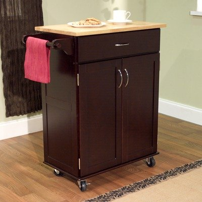 Kitchen Cart with Wood Top in Espresso