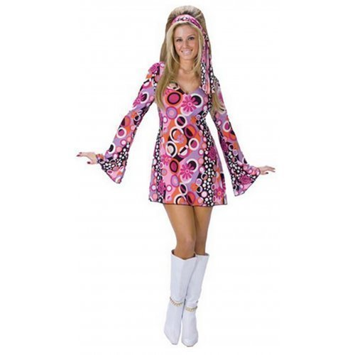 Ladies Pink Groovy Hippy Chick Fancy Dress Costume Outfit. Three sizes from 10 to 18.