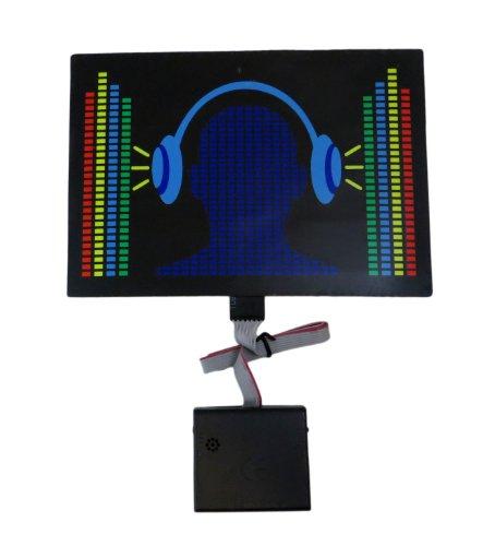 "Sound Activated Led Dj Flashing ""Music Headphone"" Equalizer Eq Panel With Long Sensor"