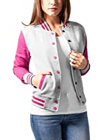 Urban Classics Chaqueta Ladies 2-tone College Sweatjacket (Gris / Fucsia)