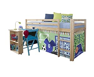 Cabin Bed with Desk in Sports Design & Mattress, PINE Bed with Tent SPORTS+MATTRESS