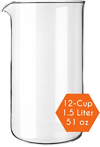Cozyna Universal 51oz French Press Replacement Glass Beaker Fits All Brands of French Press Coffee Maker Carafe, 12-cup | 1.5L | 51oz (Press Pot Carafe compare prices)