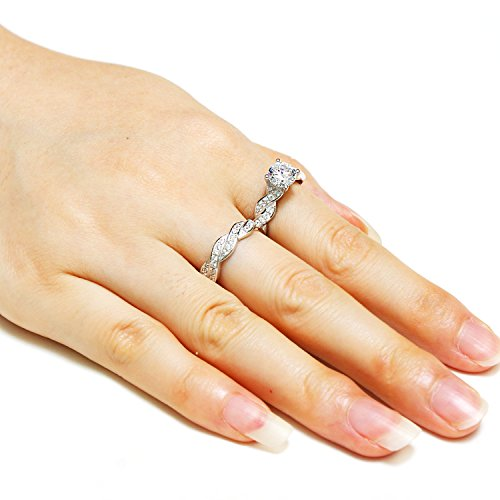 1.5ct Infinity Wedding Band Anniversary Engagement Ring Bridal Set 925 Sterling Silver Cubic Zirconia Size 6