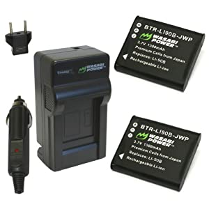 Wasabi Power Battery (2-Pack) and Charger for Olympus LI-90B, LI-92B and Olympus SH-1, SH-50 iHS, SP-100, SP-100EE, Tough TG-1 iHS, Tough TG-2 iHS, Tough TG-3, XZ-2 iHS