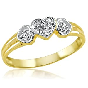 10K Yellow Gold Triple Heart Diamond Promise rings ( Sizes 5-7)