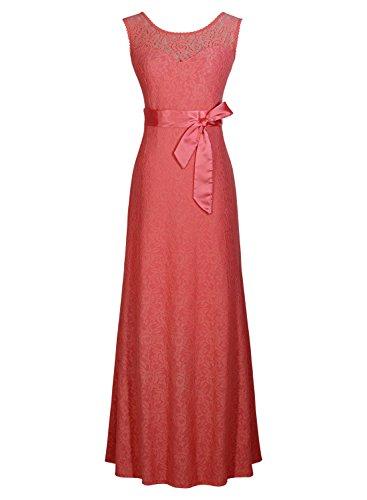 Miusol® Women's Elegant Sleeveless Halter Black Lace Bridesmaid Maxi Dress (XX-Large, Pink)