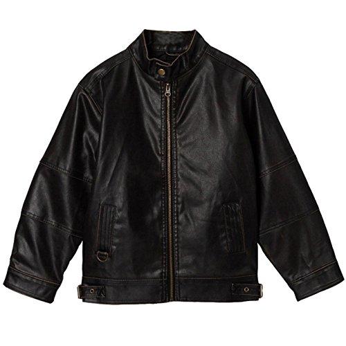 Momo Grow Kids Black Faux Leather Motorcycle Jacket - S