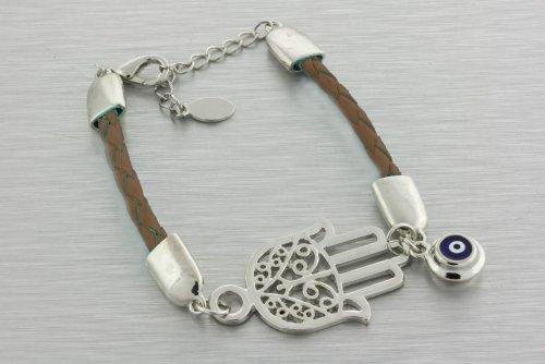 Brown Braided Hamsa/Hand of Fatima Bracelet with Evil Eye Charm