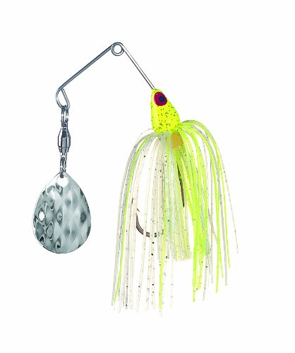 Strike King Mini-King Spinnerbait – Single Colorado Diamond Blade (Chartreuse Head Chartreuse/White Skirt, 0.125-Ounce)