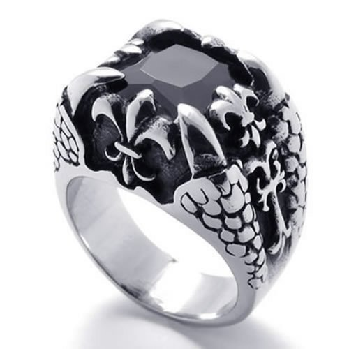 Konov Jewelry Dragon Claw Stainless Steel Band Mens Ring, Silver Black, Size 10
