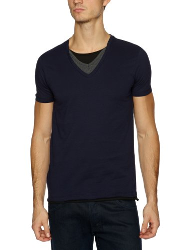 Selected Homme Rift Short Sleeve Triple Layer Men's T-Shirt Maritime Navy Small