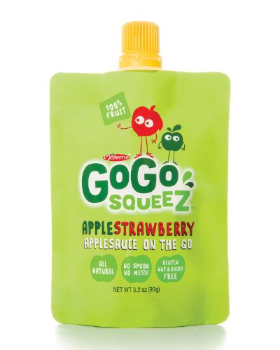 GoGo Squeez Strawberry Apple Sauce - All Natural, pack of 12 pouches