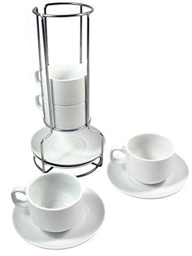 White Ceramic Stackable Coffee and Espresso Cup Set with Wire Stand Cup and Saucer Holder, Includes Cup, Saucers, and Wire Steel Stand, Coffee Cup Set (Espresso Cup Stand compare prices)