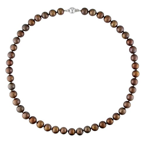 Freshwater Brown Pearl Necklace with Silver Ball Clasp (18in)