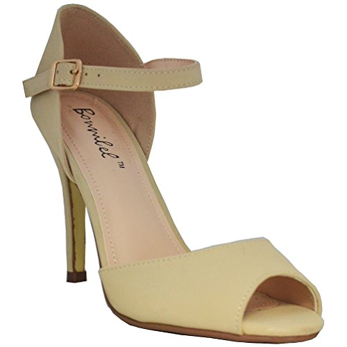Bonnibel Women's Alina-1 Peep Toe Stiletto Ankle Strap Dress D'orsay Pumps, Nude