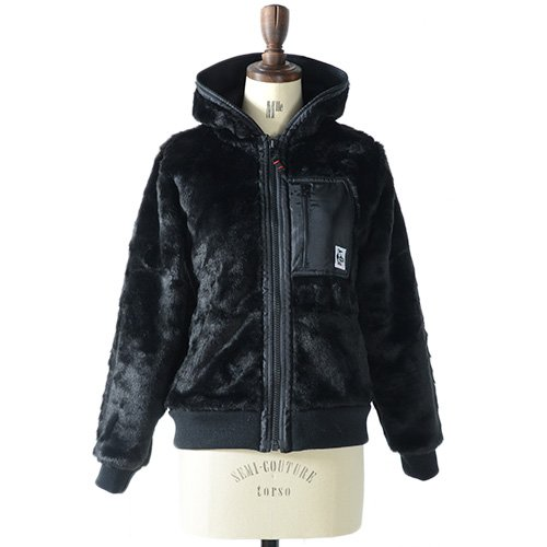 CHUMS チャムス ファー ジャケット Monster's Hooded Jacket CH14-0490 フード付き ブルゾン 総柄 アニマル モンスターズ フーデッド ジャケット レディース 正規取扱品 (M, 1.Black)