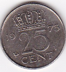 1973 Netherlands 25 Cent Coin