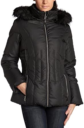 Esprit Women's Hooded Down Puffer Jacket With Faux Fur,Black,Large