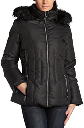 Esprit Women's Hooded Down Puffer Jacket With Faux Fur,Black,Small