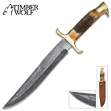 buy Timber Wolf Mosaic Bowie Knife Damascus