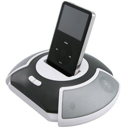 Eforcity Gray Disc-shaped Speaker for iPod / iPod Video / iPod nano / iPod Photo / iPod Mini / iPod Shuffle / CD Player / DVD Player / Laptop / PDA with Dock Plates