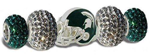 Michigan State Spartans 3-D Charms - Set of 5 - 1 Football Helmet + 4 Crystal beads
