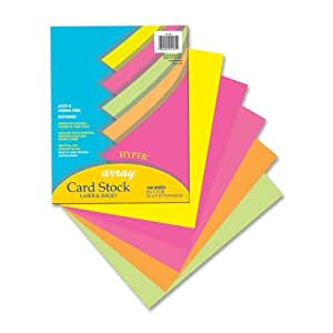 """Array Card Stock, 8 1/2""""X11"""", Bright Assorted Colors, 100 Sheets"""