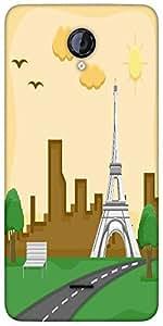 Snoogg France Eiffel Tower Cartoon Background Vector Designer Protective Back...