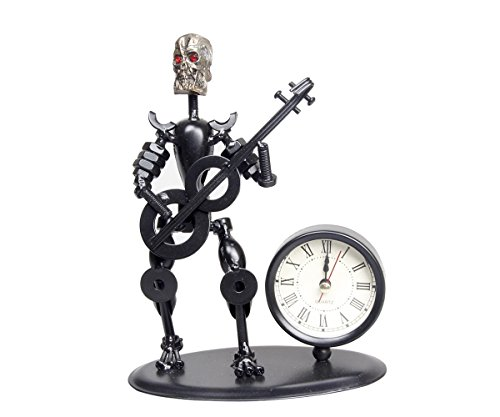 ZOVIE Office Supplies & Home Decor Handmade Crafts Wrought Iron Metal Skull Skeleton Musician Model Creative Vintage Ancient Desk Clock Personalized Gift for Families Teachers Friends Schoolmates Business Partner - Black (Guitar)