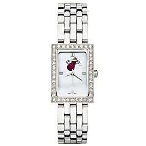 CZNSW22309Q-w-Miami Heat Watch - Stainless Steel & Cubic Zirconia by NBA Officially Licensed
