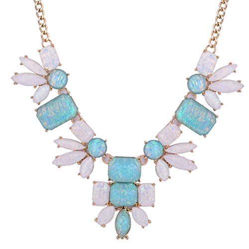 November's Chopin (TM) Flower Simple Style Statement Pendant Elegant Sexy Choker Necklace (Blue)