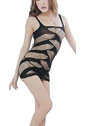 ROSEMANDY Sexy Temptation Stripes Elastic Mesh Short Dress Skirt Lingerie