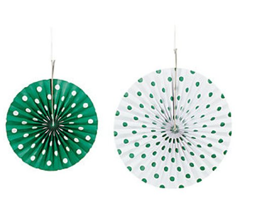 Fun Express 3-4193 Green Polka Dot Hanging Fans - 6 Pieces