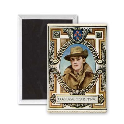 Corporal Bassett VC recipient 6 / Stamp - 3x2 inch Fridge Magnet - large magnetic button - Magnet