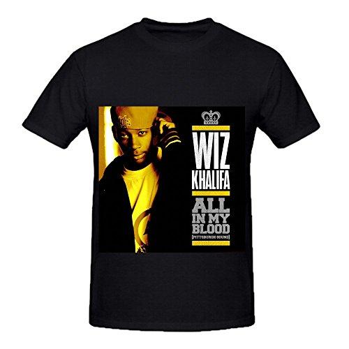 Wiz Khalifa All In My Blood Men Crew Neck Slim Fit Shirts Black