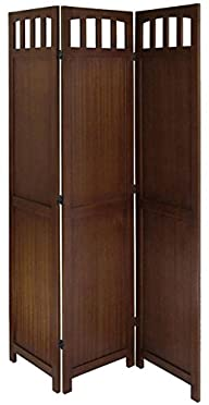 Legacy Decor 3 or 4 Panel Solid Wood Room Screen Divider Walnut (3 Panels)