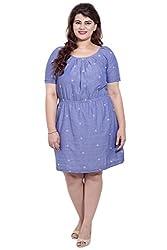 Denim Look-alike Embroidered Half Sleeve Dress_LIWC245_L