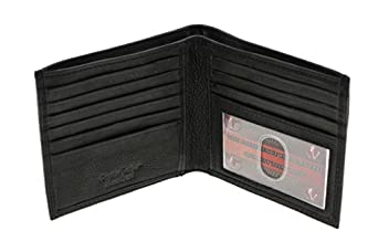Paul & Taylor Mens Genuine Leather Hipster Wallet Zipper Money Compartment Black