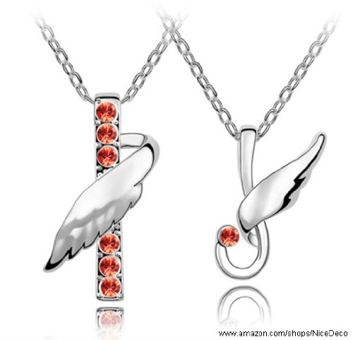 Nicedeco Je-Sw-Tz050-Red,Swarovski Elements Austrian Crystal Jewelry Sets,Flying Angel,Necklace,Bracelet(2-Piece Set),Elegant Style And Exquisite Craftsmanship