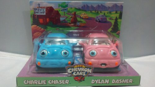 Chevron Cars Charlie Chaser & Dylan Dasher 2 Car Set, Toy Vehicles Pair, Collectible