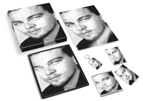 LEONARDO DI CAPRIO - Original Art Gift Set #js001 (Includes - A4 Canvas - A4 Print - Coaster - Fridge Magnet - Keyring - Mouse Mat - Sketch Card) #js001