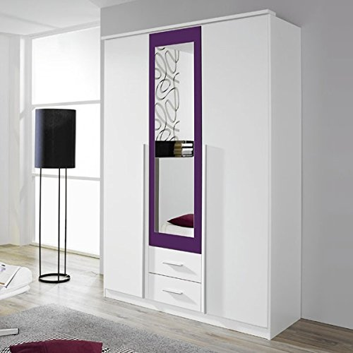 Kleiderschrank-wei-lila-3-Tren-B-136-cm-brombeer-Schrank-Drehtrenschrank-Wscheschrank-Spiegelschrank-Kinderzimmer-Jugendzimmer