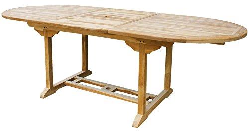 KMH®, Ausziehbarer Gartentisch – ECHT TEAK! (170 – 230 x 100 cm / oval) (#102084) günstig online kaufen